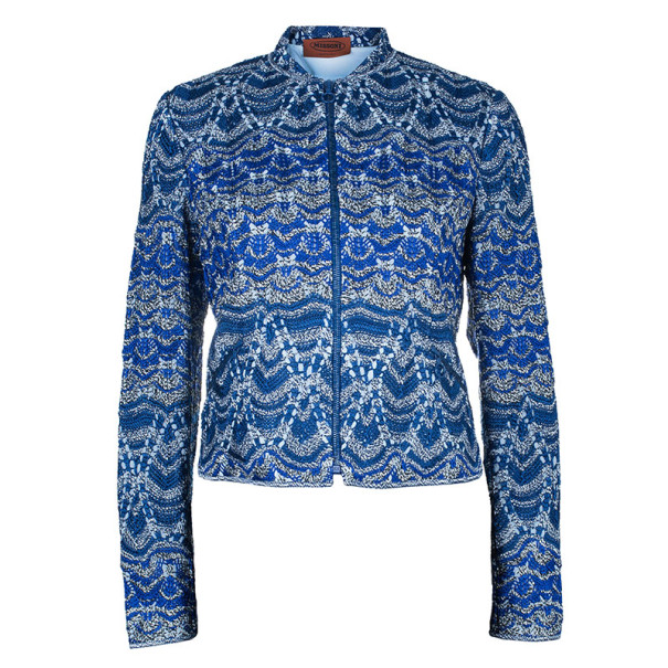 Missoni Blue Knit Bomber Jacket M