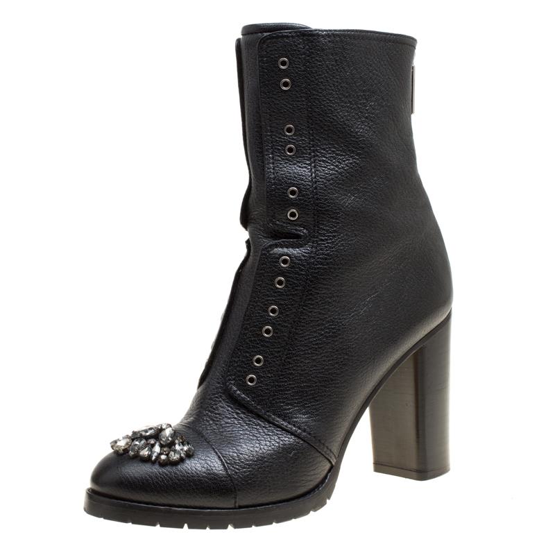 Купить со скидкой Jimmy Choo Black Leather Crystal Embellished Datchet Ankle Boots Size 41