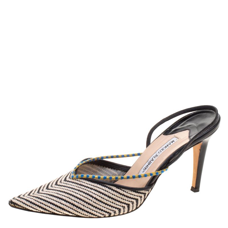 Manolo Blahnik Canvas Slingback Sandals sale low price cIBdN