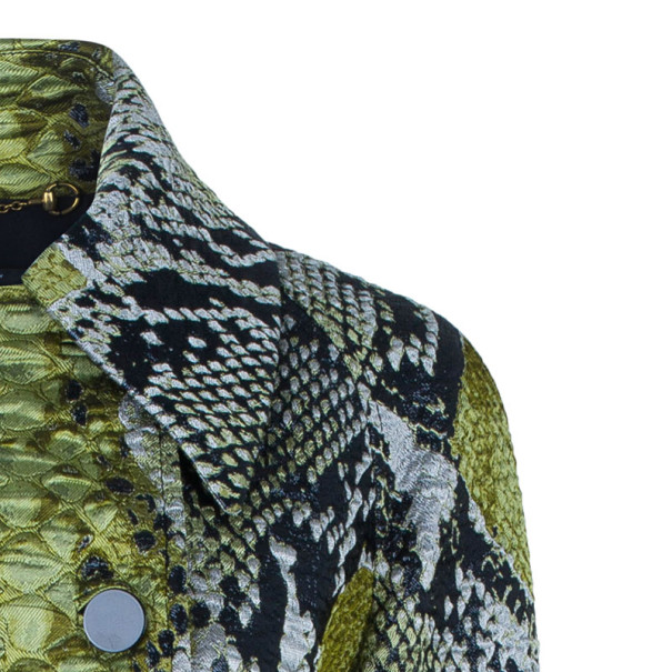 Gucci Jacquard Python Motif Doublebreasted Coat M