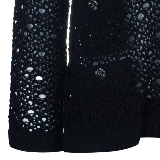 Chanel Black Crochet Knit Cardigan M