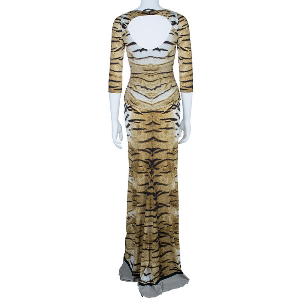 Roberto Cavalli Animal Print Fishtail Gown S