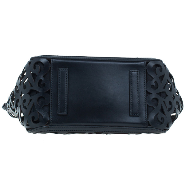 Ralph Lauren Black Leather Small Vachetta Scroll Tote