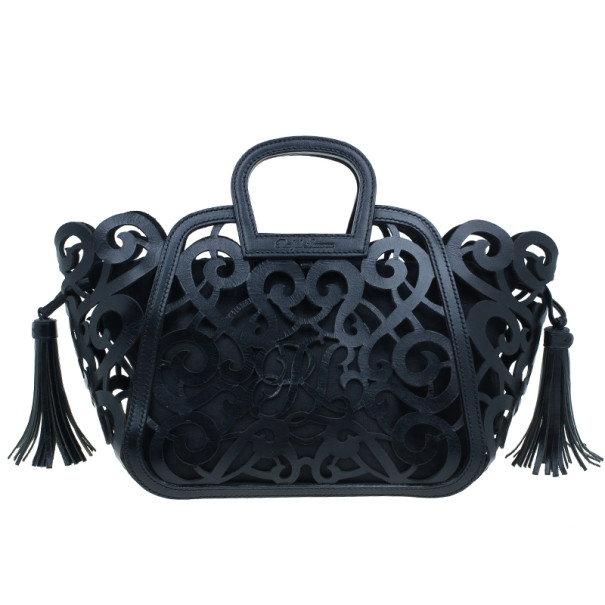 Ralph Lauren Black Leather Small Vachetta Scroll Tote