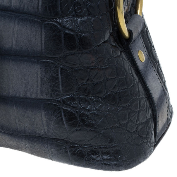 Saint Laurent Paris Blue Croc-Embossed Large Muse Bag