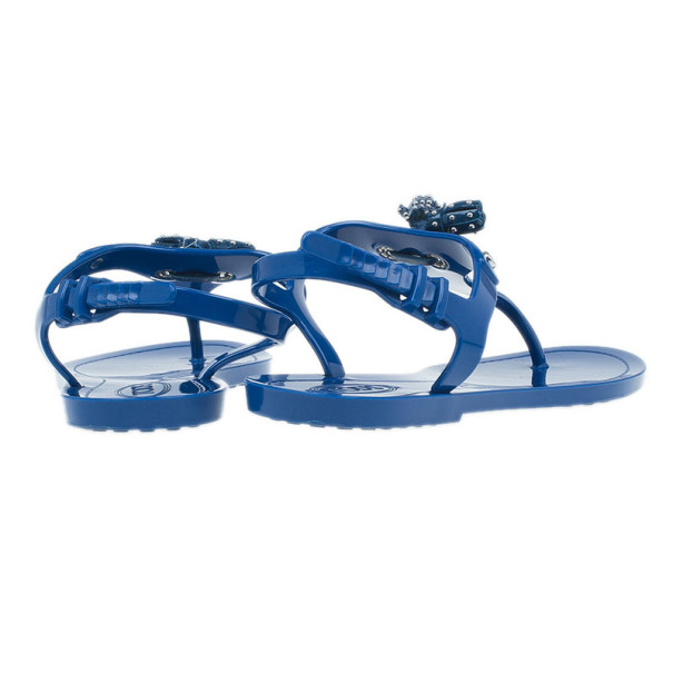 Tod's Blue Tassel Detail Thong Jelly Sandals Size 38