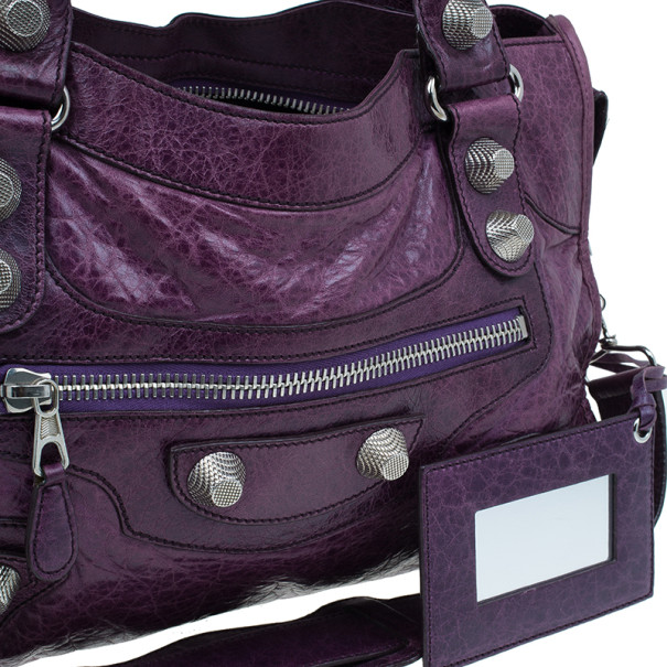 Balenciaga Purple Lambskin Giant City Bag