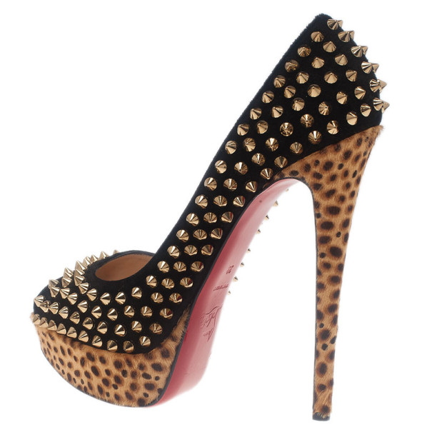 Christian Louboutin Black Suede Leopard Pony Hair Lady Peep Spikes Platform Pumps Size 39