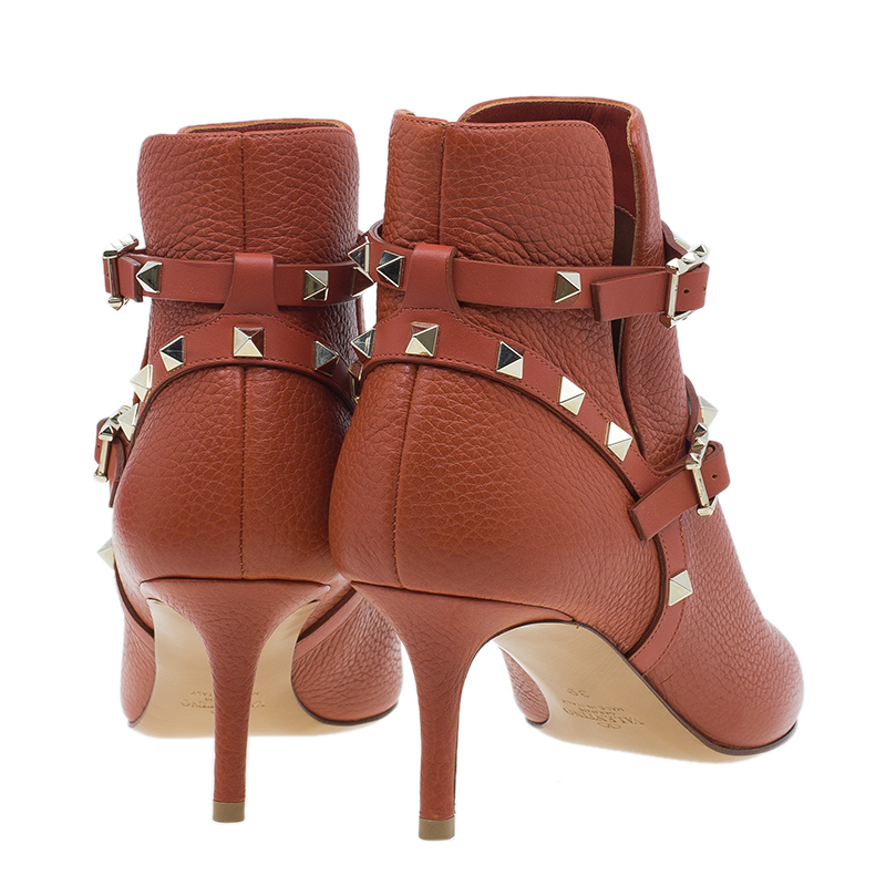 Valentino Orange Leather Rockstud Ankle Boots Size 39