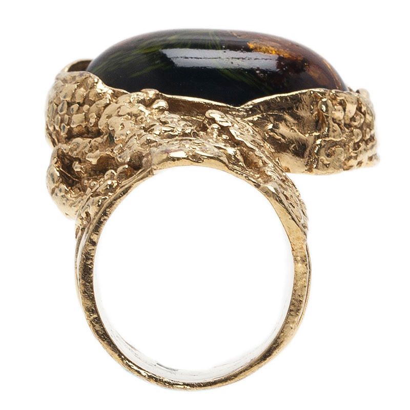 Saint Laurent Paris Arty Black And Green Gold Tone Ring Size 52