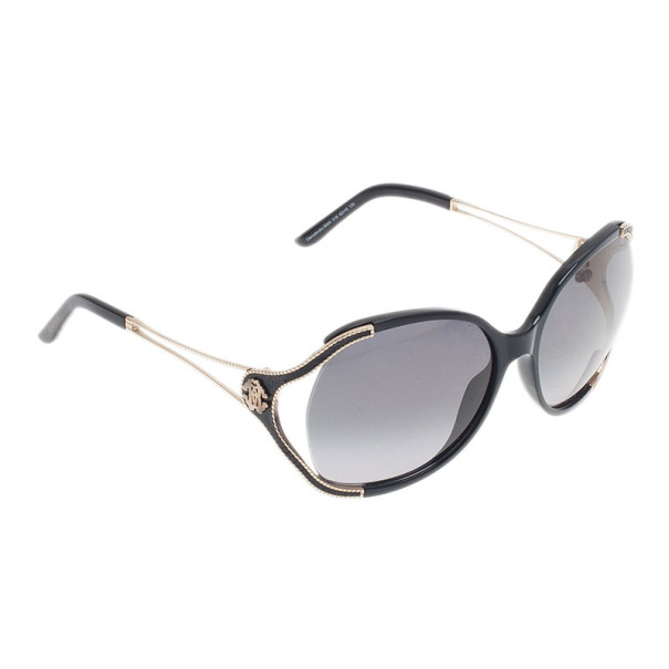Roberto Cavalli Black and Gold Clerodendro Round Oversized Sunglasses