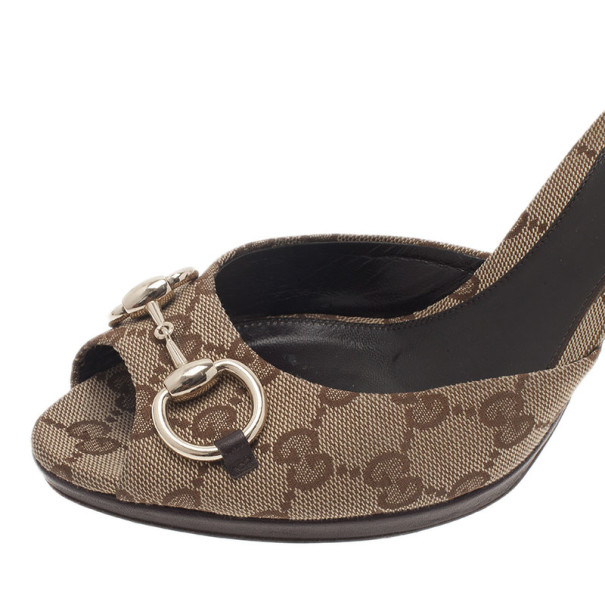 Gucci Beige Guccissima Canvas New Hollywood Horsebit Slides Size 39