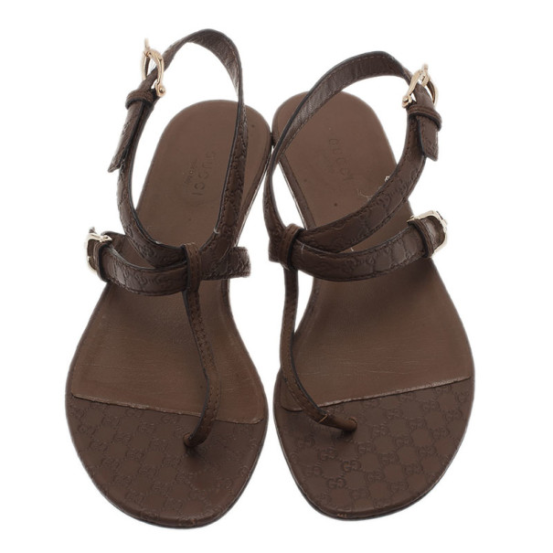 Gucci Brown GG Leather Thong Sandals Size 39