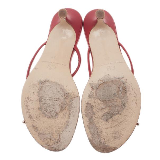 Carolina Herrera Red Leather Bow Sandals Size 39