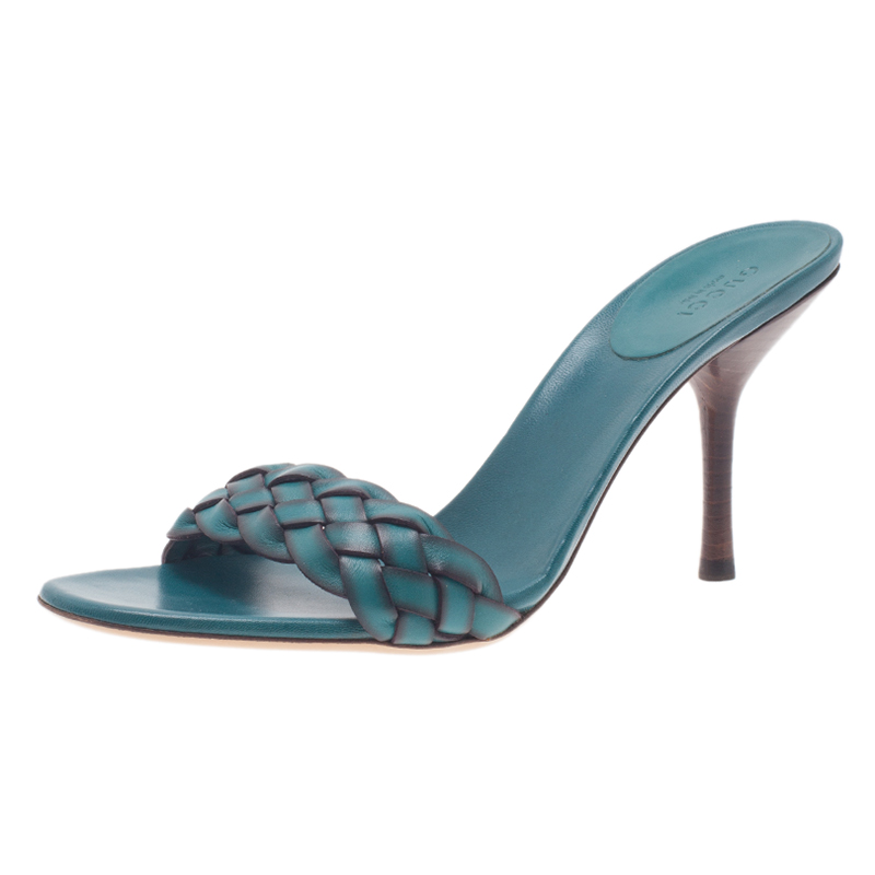 Gucci Teal Braided Leather Open Toe Slides Size 38