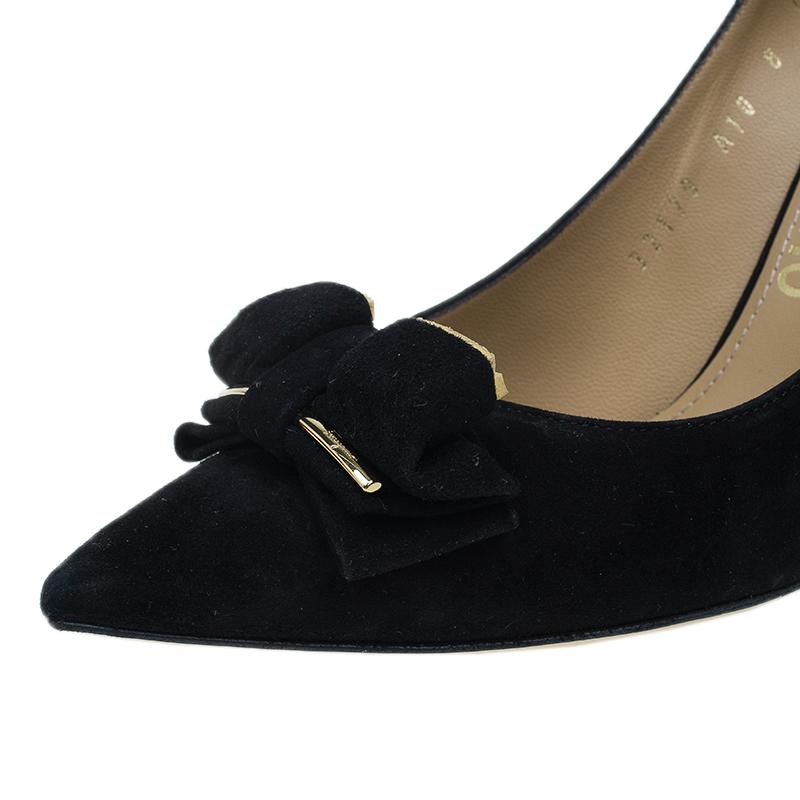 Salvatore Ferragamo Black Suede Runa Bow Pumps Size 38.5