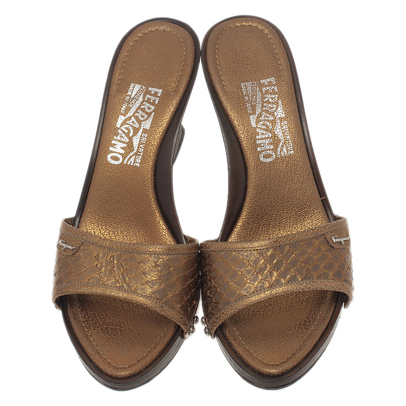 Salvatore Ferragamo Silver Python Open Toe Wedge Slides Size 38.5