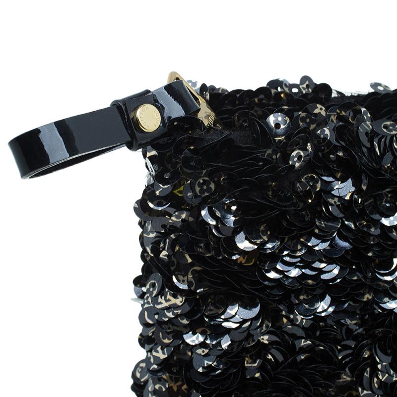 Louis Vuitton Black Sequins Pochette Rococo Clutch