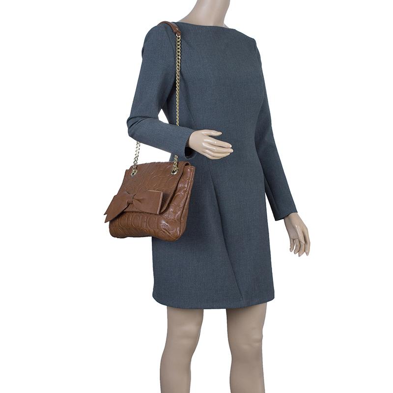 Carolina Herrera Brown Leather Audrey Shoulder Bag