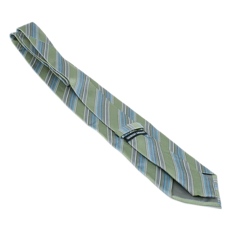 Giorgio Armani Green Striped Silk Tie