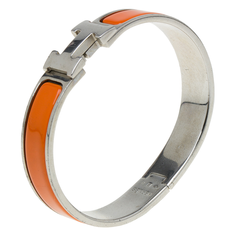 Hermes Clic Clac H Orange Enamel Palladium Plated Bracelet PM