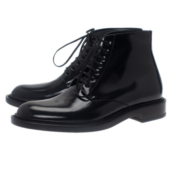 Saint Laurent Paris Black Patent Signature Army Combat Boots Size 41