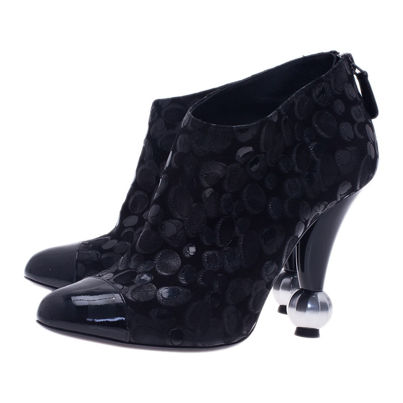 Chanel Black Suede and Leather Ankle Boots Size 38.5