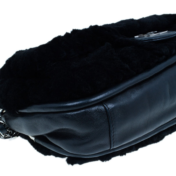 Chanel Black Fur Timeless Evening Clutch