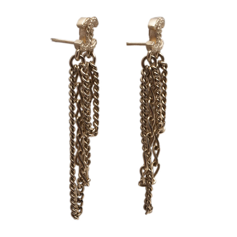 Chanel CC Chains Gold Tone Stud Earrings
