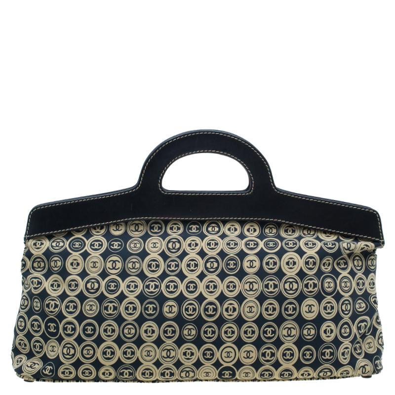Chanel Black Fabric Vintage CC Logo Tote Bag