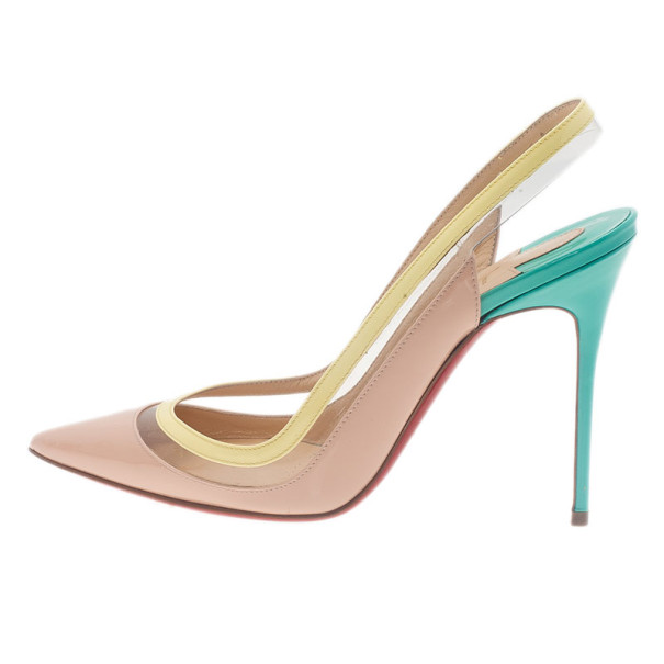 Christian Louboutin Tricolor Paulina Slingback Sandals Size 39