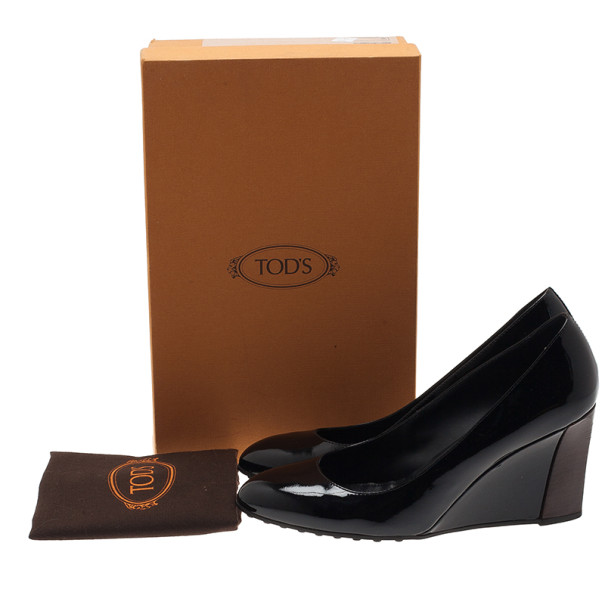 Tod's Black Patent Wedge Pumps Size 40