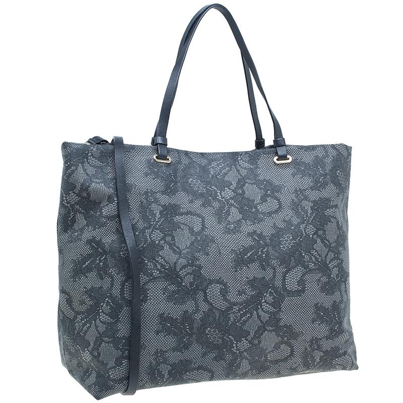 Valentino Grey Vinyl Lace Print Tote Bag