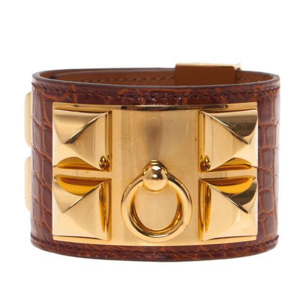 Hermes Collier de Chien Brown Alligator Cuff Bracelet L