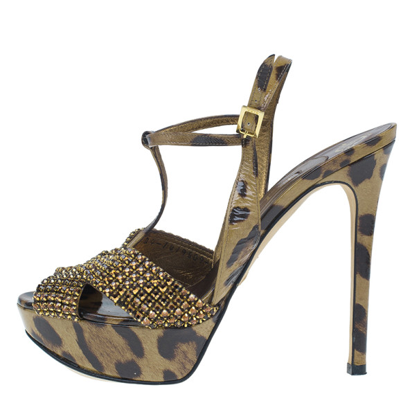 Gina Brown Crystal Embellished Leopard Print Sandals Size 38