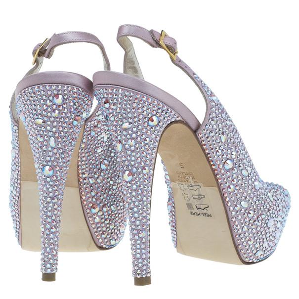 Gina Pink Satin Sion Swarovski Slingback Sandals Size 38