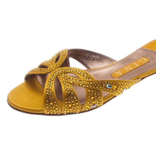 Gina Yellow Satin Crystal Sabrina Flat Sandals Size 37.5