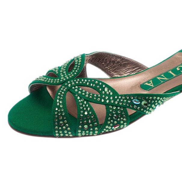 Gina Green Canvas Crystal Sabrina Flat Sandals Size 37.5