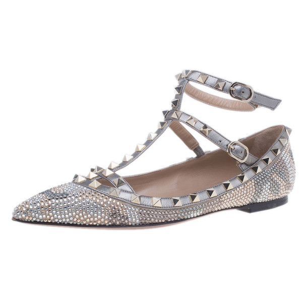 Valentino Crystal Coated Leather Rockstud Ballet Flats Size 38