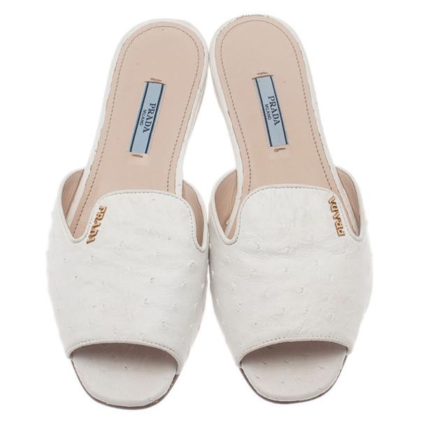 Prada White Ostrich Leather Flat Slides Size 37