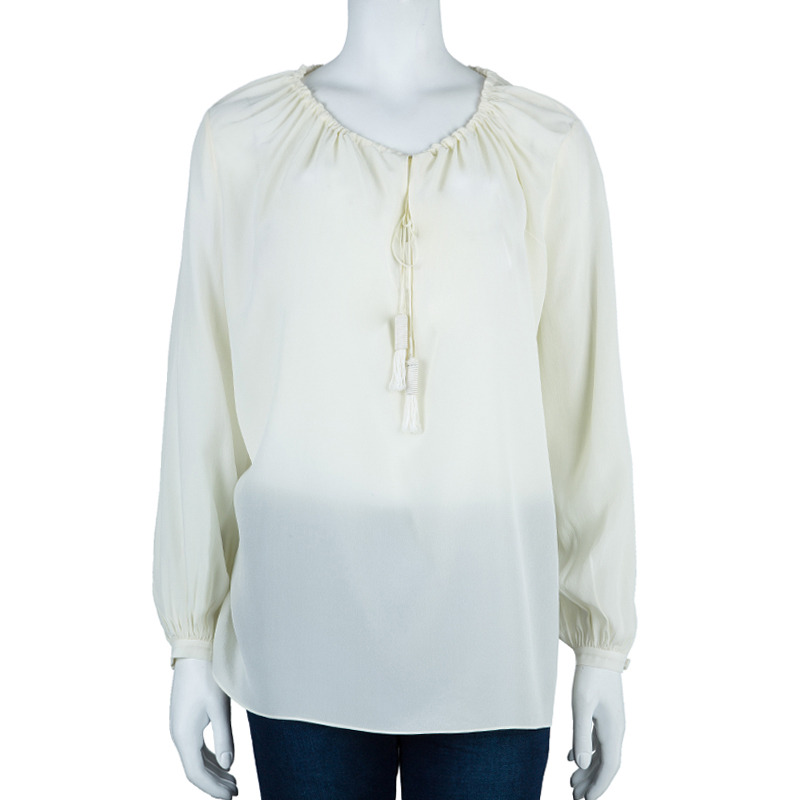 Saint Laurent Paris White Drawstring Top M