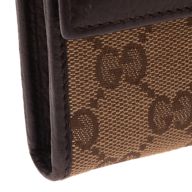 Gucci Beige Guccissima Canvas Web Detail Continental Wallet