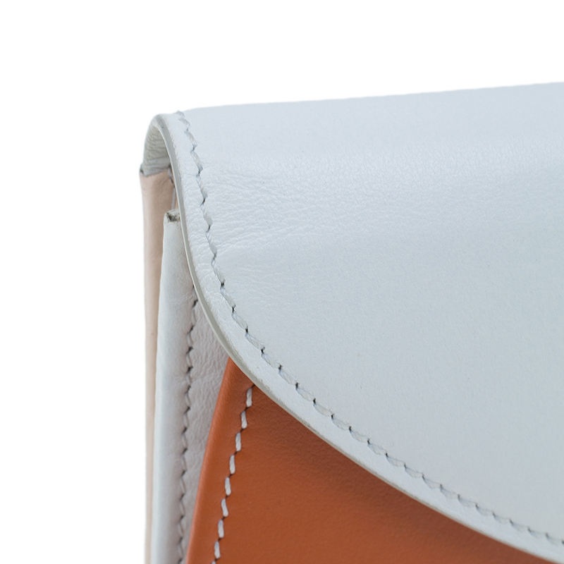 Salvatore Ferragamo Orange and White Leather Gancio Bar Continental Wallet