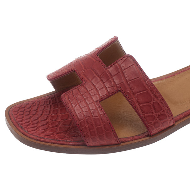 Hermes Red Croc Embossed Oran Box Sandals Size 37