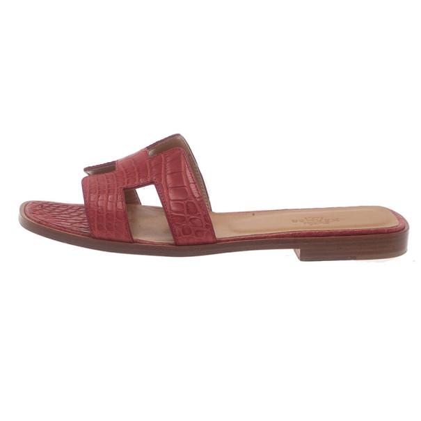 Hermes Red Croc Embossed Oran Box Sandals Size 37