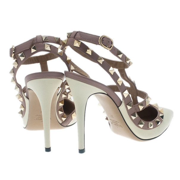 Valentino Ivory Leather Rockstud Sandals Size 37
