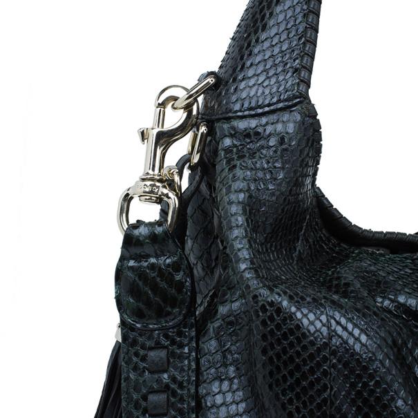Gucci Black Python Large Jackie Hobo