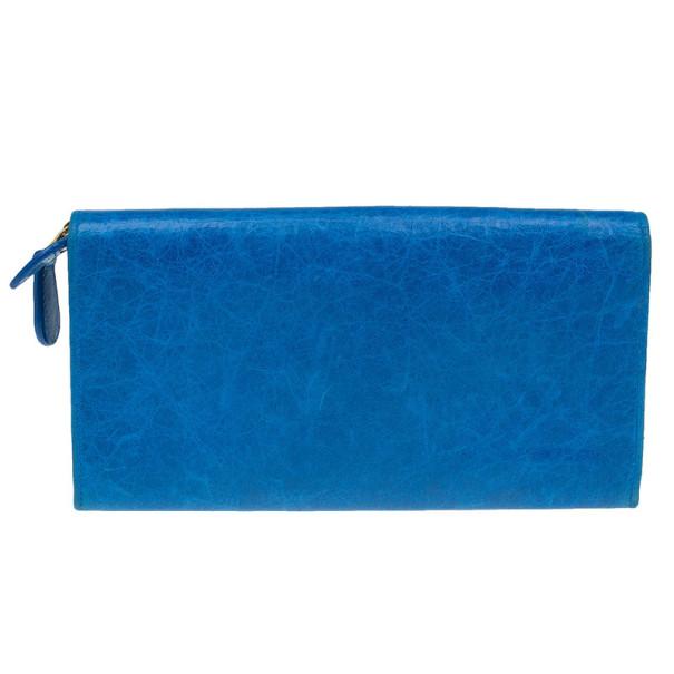 Balenciaga Blue Lambskin Continental Arena Giant Zip-Around Wallet