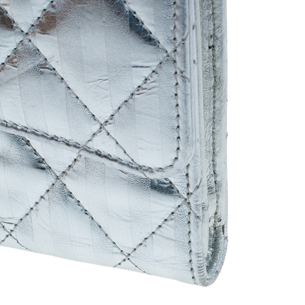 Chanel Metallic Silver Quilted Leather Reissue Trifold Wallet