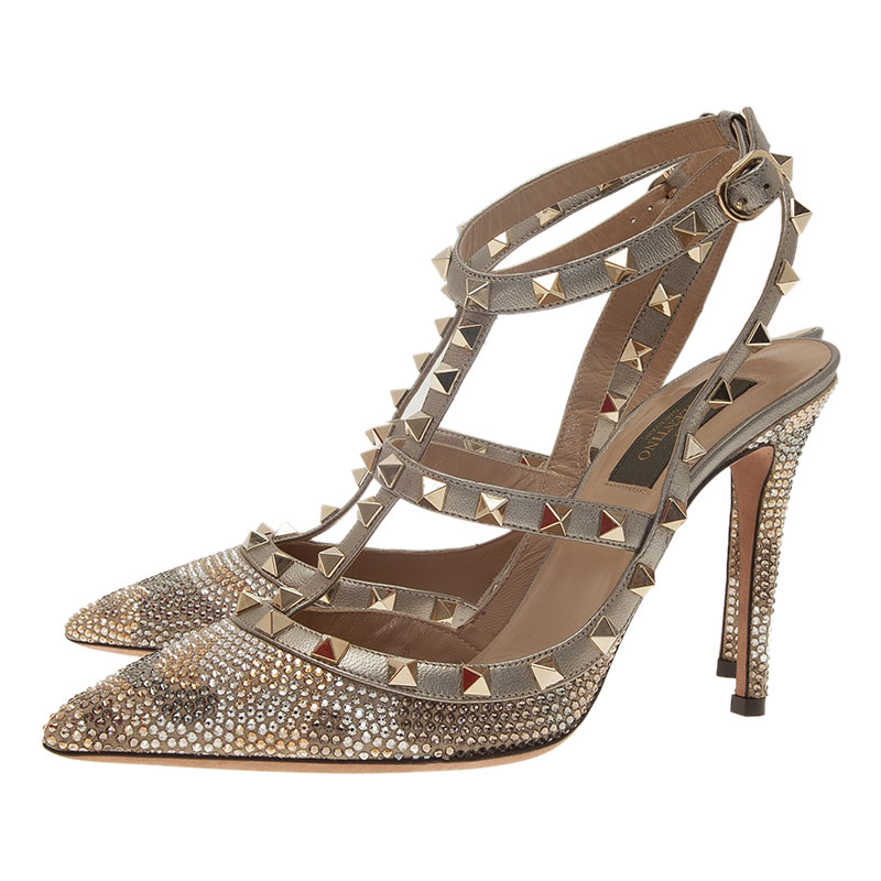 Valentino Grey Camo Crystal Coated Rockstud Sandals Size 39